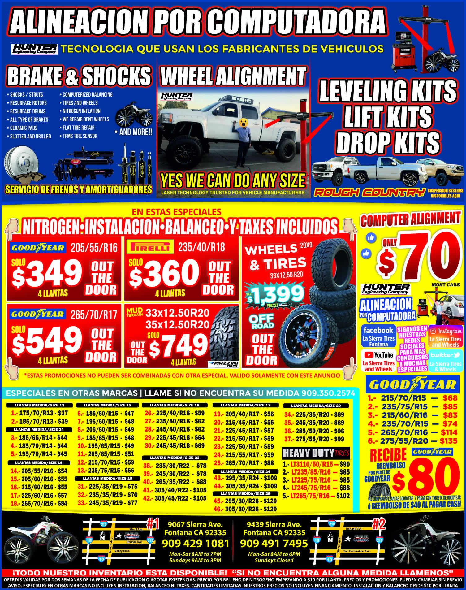 La Sierra Tires >> La Sierra Tires Accesorios De Autos